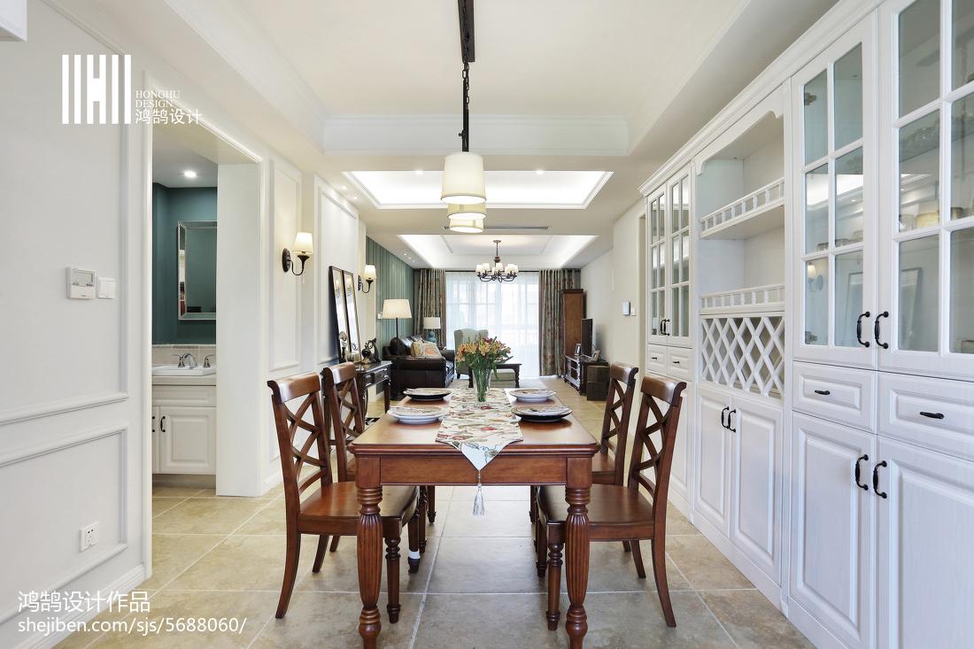 热门103平米三居餐厅美式装修实景图片厨房美式经典餐厅设计图片赏析