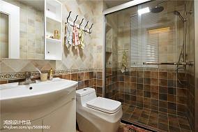 精美三居卫生间美式装修设计效果图片大全三居美式经典家装装修案例效果图