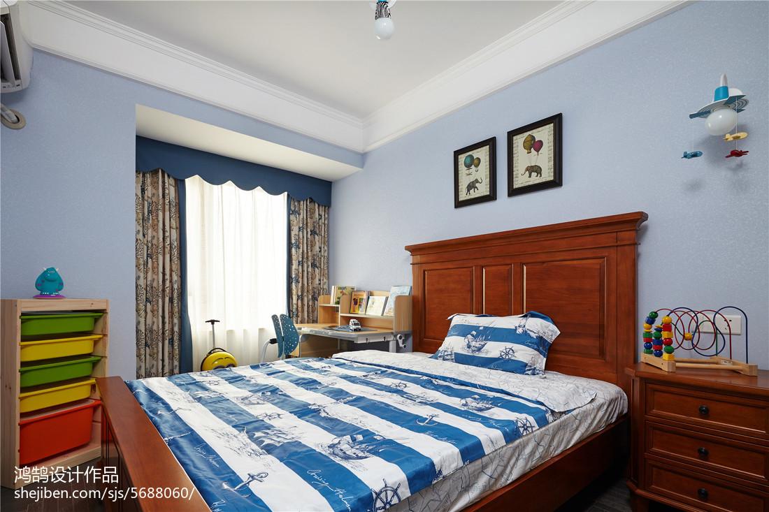 2018精选面积91平美式三居儿童房装修设计效果图片大全卧室窗帘美式经典卧室设计图片赏析
