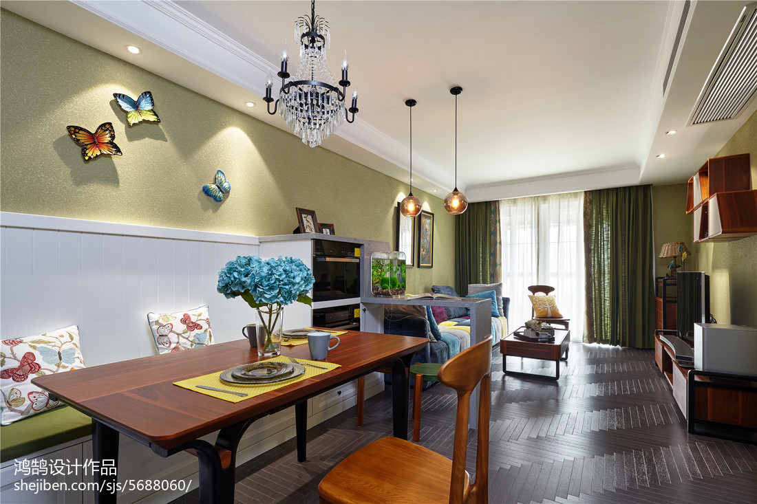 精选103平米三居餐厅美式装饰图厨房美式经典餐厅设计图片赏析