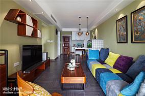 质朴71平美式三居装修效果图三居美式经典家装装修案例效果图