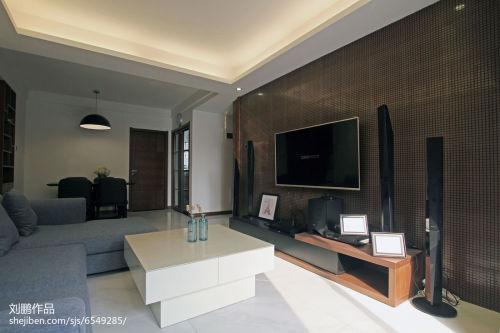面积104平简约三居客厅欣赏图客厅电视柜81-100m²三居现代简约家装装修案例效果图