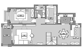 平现代复式设计效果图复式现代简约家装装修案例效果图