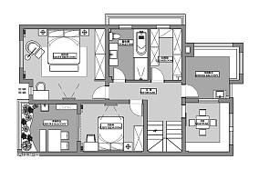优美56平现代复式装修装饰图复式现代简约家装装修案例效果图