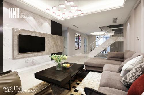 质朴300平现代复式美图客厅电视背景墙201-500m²家装装修案例效果图