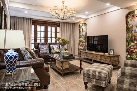 精美面积89平美式二居客厅欣赏图二居美式经典家装装修案例效果图