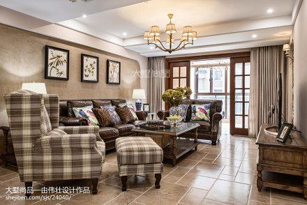 精美77平米二居客厅美式实景图