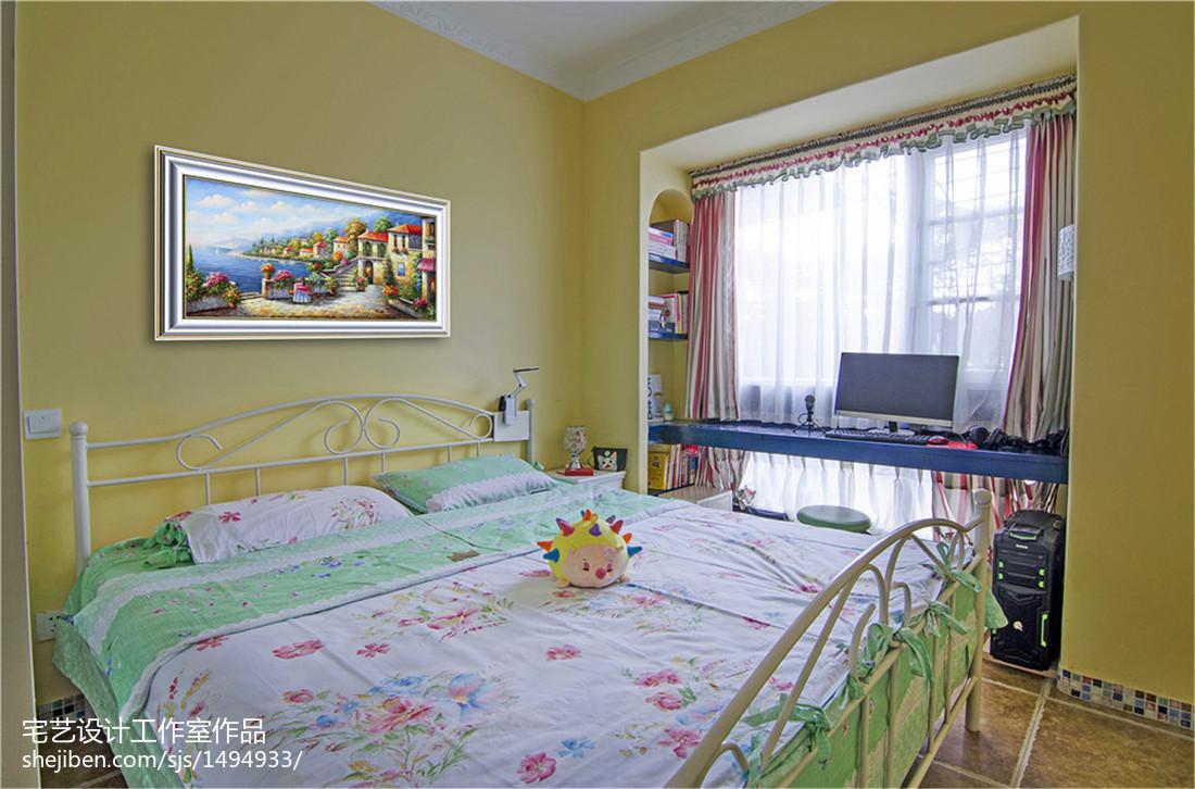 精美88平米二居卧室地中海装修欣赏图片卧室窗帘地中海卧室设计图片赏析
