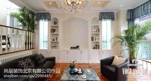 热门面积139平别墅客厅田园实景图客厅电视柜美式田园家装装修案例效果图