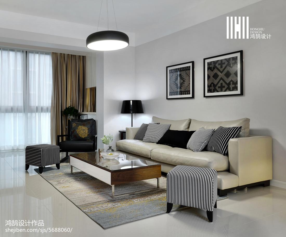 精选109平米三居现代装修实景图片大全客厅现代简约客厅设计图片赏析