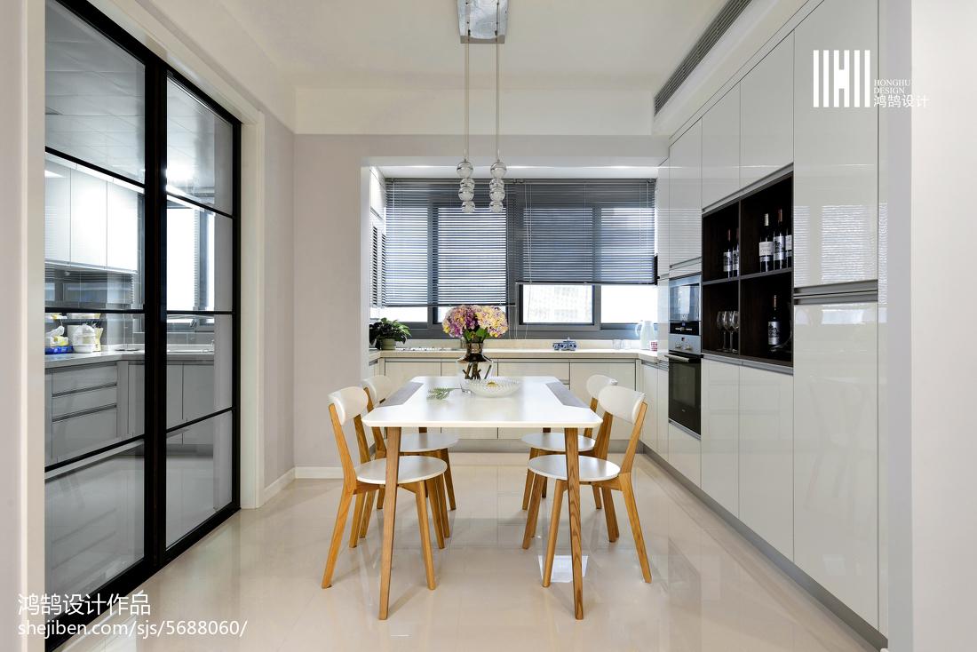 精美90平米三居餐厅现代装修设计效果图片厨房现代简约餐厅设计图片赏析