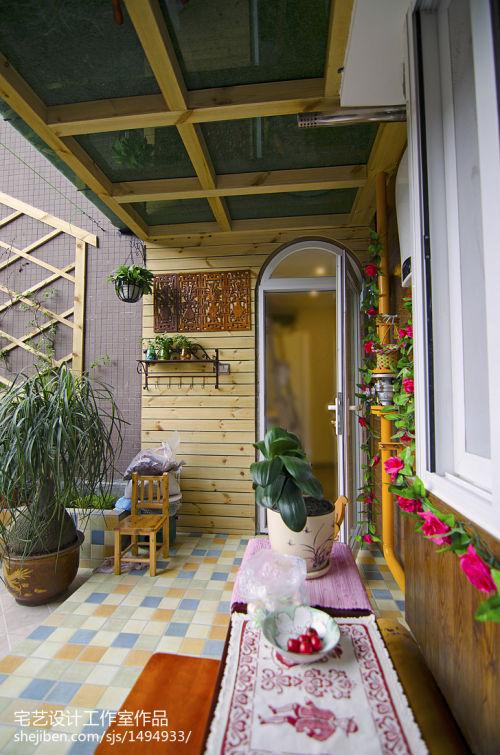 优雅53平地中海二居阳台装修效果图阳台2图