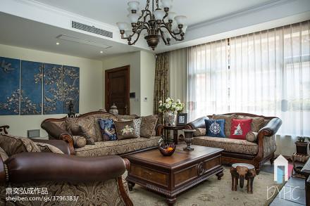 2018123平米美式别墅客厅装饰图片大全别墅豪宅美式经典家装装修案例效果图