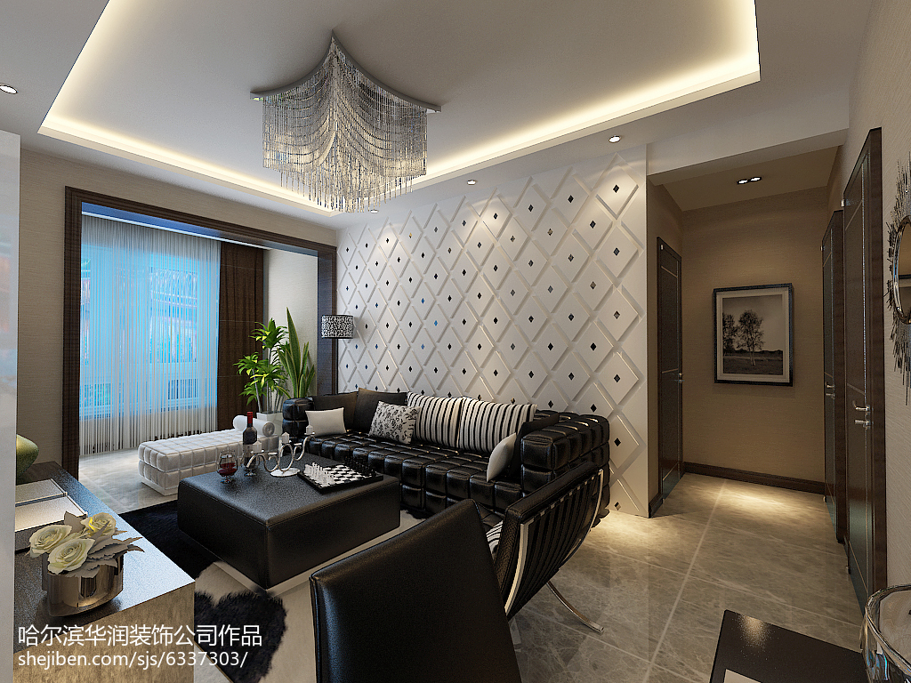 休闲雅致系列二居室装修效果图二居家装装修案例效果图