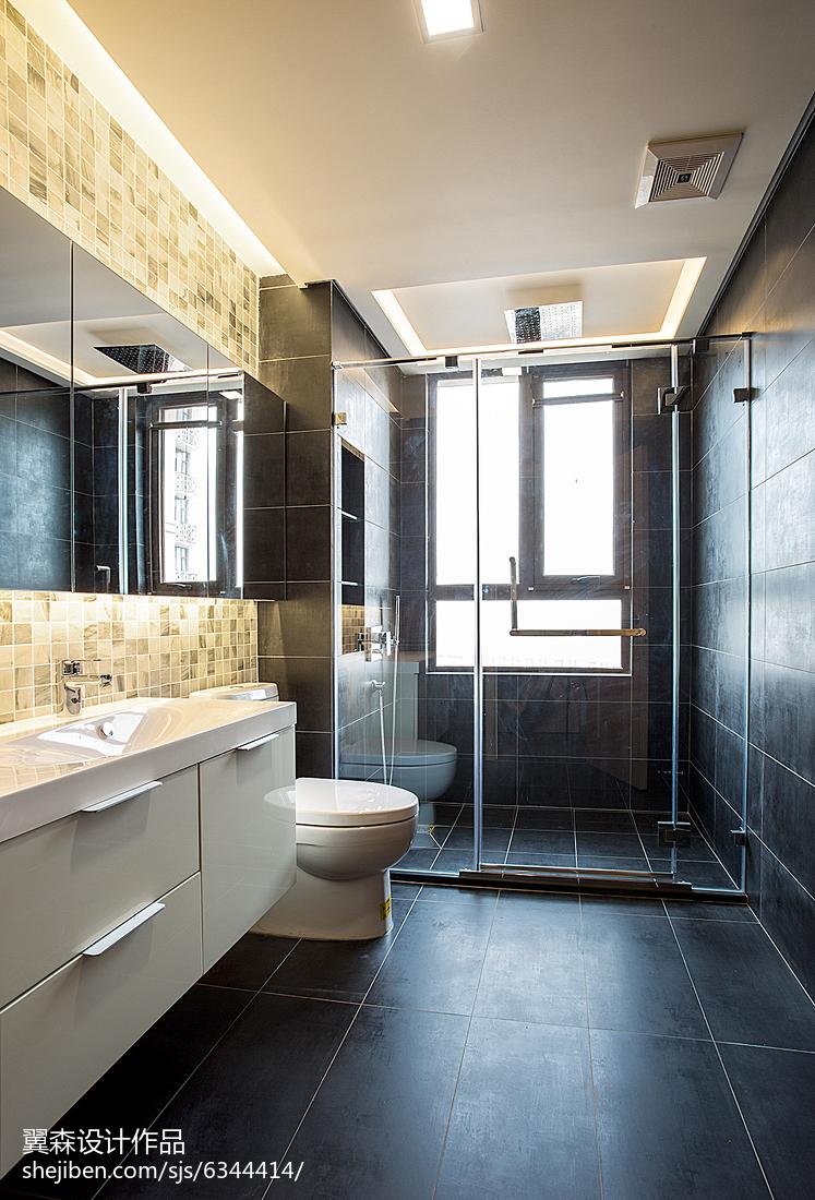 2018面积92平简约三居卫生间实景图卫生间洗漱台现代简约卫生间设计图片赏析