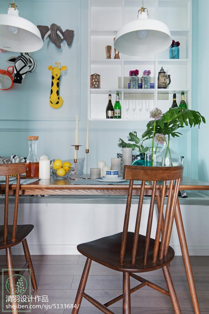 2018精选100平米三居餐厅北欧实景图片厨房北欧极简餐厅设计图片赏析