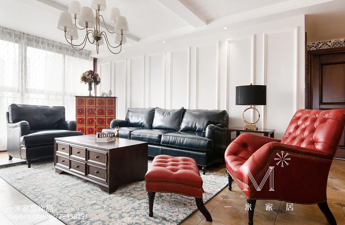 悠雅143平美式二居装修案例客厅美式经典客厅设计图片赏析