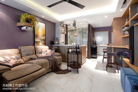 热门75平米混搭小户型客厅装修设计效果图片欣赏