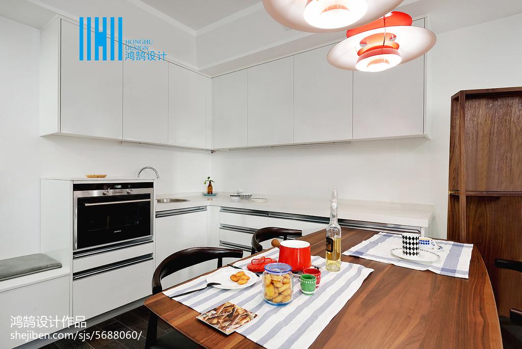 精选面积75平北欧二居餐厅装修效果图餐厅北欧极简厨房设计图片赏析
