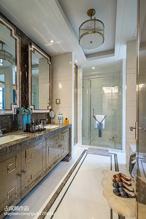热门卫生间中式效果图样板间中式现代家装装修案例效果图
