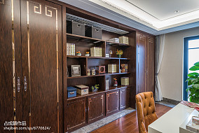 典雅329平中式样板间书房装修图样板间中式现代家装装修案例效果图