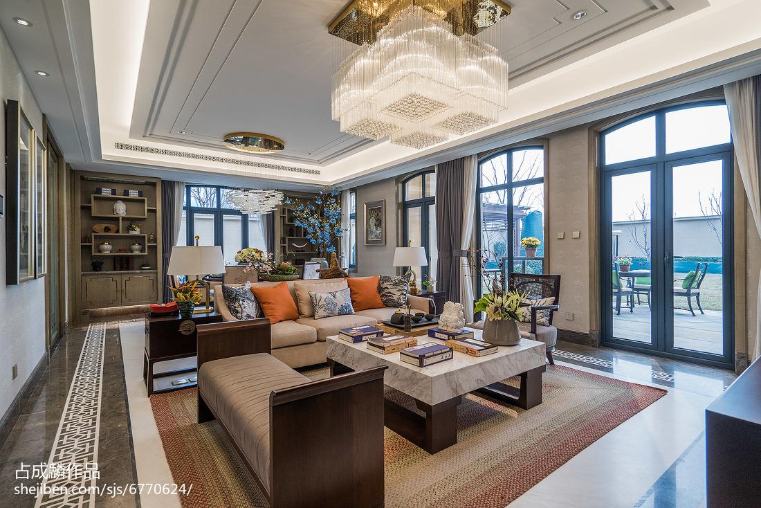 2018中式客厅装修效果图片样板间中式现代家装装修案例效果图