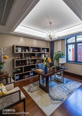 简洁289平中式样板间书房装饰图样板间中式现代家装装修案例效果图