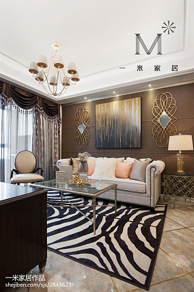 热门77平米二居客厅美式装修实景图二居美式经典家装装修案例效果图