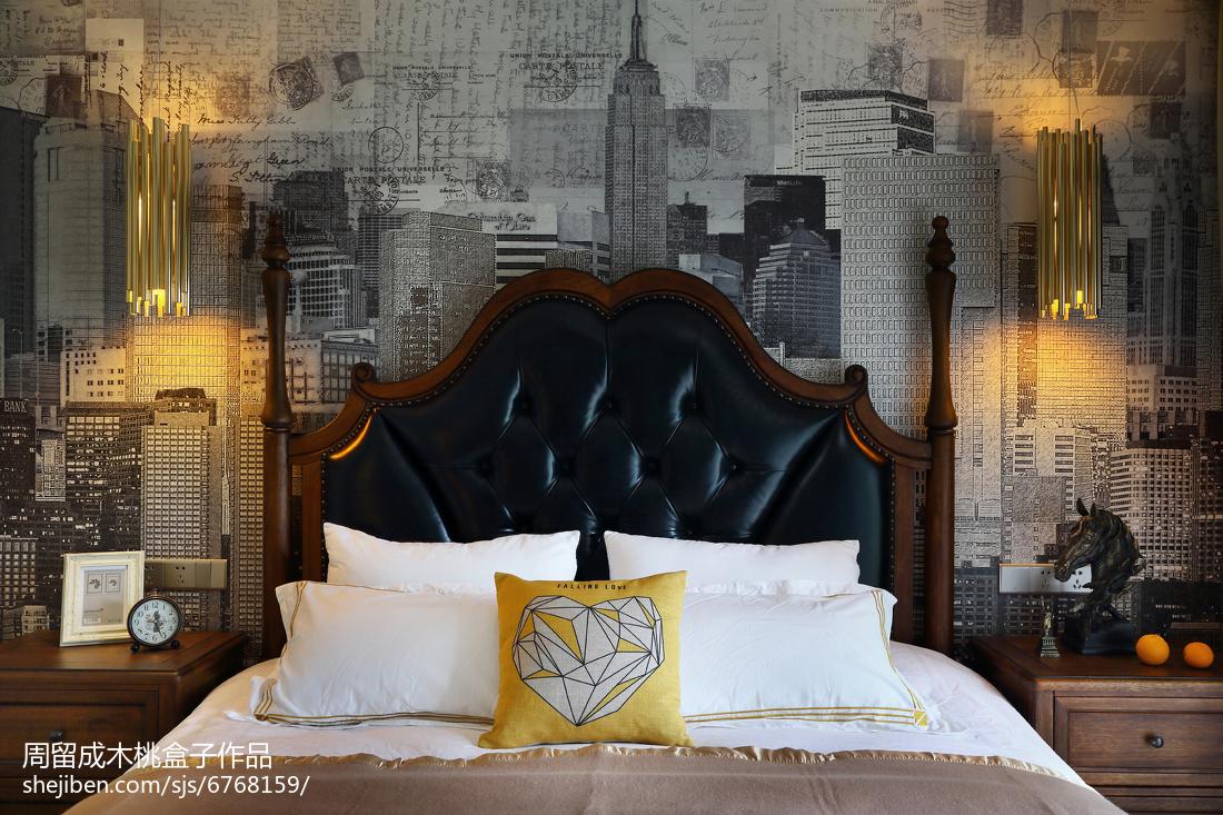 热门98平米三居卧室混搭装修实景图片欣赏卧室