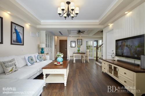 平美式复式客厅装修装饰图客厅电视柜121-150m²复式美式经典家装装修案例效果图
