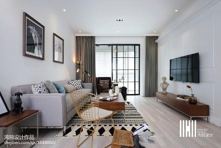精美101平米三居客厅北欧效果图片欣赏