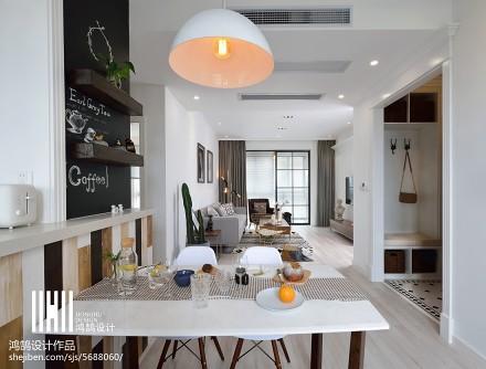 2018精选96平米三居餐厅北欧实景图片大全厨房
