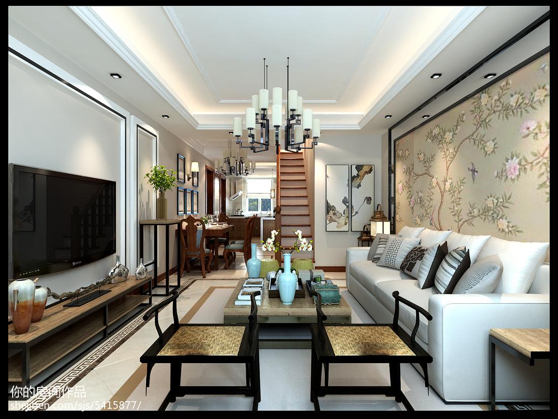 悠雅51平中式复式客厅效果图片大全客厅中式现代客厅设计图片赏析