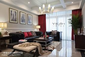 2018118平米四居客厅美式实景图片欣赏