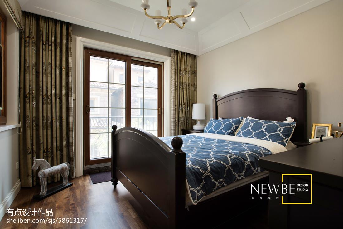 2018精选142平米美式别墅卧室装修设计效果图片大全卧室1图
