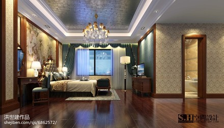 华丽54平美式复式卧室装修案例