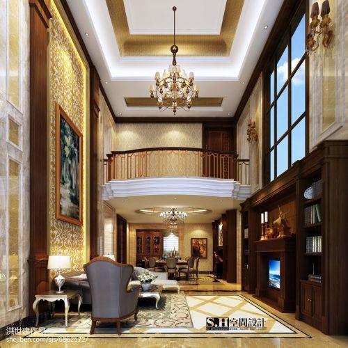 复式客厅水晶灯客厅吊顶复式美式经典家装装修案例效果图