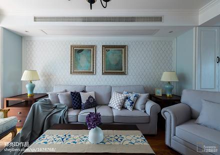 简洁98平美式二居客厅装修装饰图81-100m²二居美式经典家装装修案例效果图