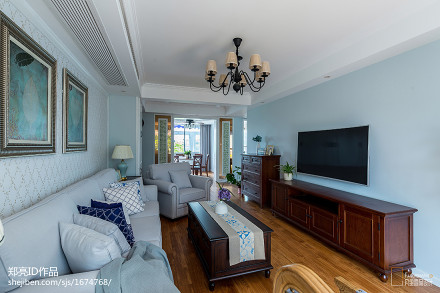 悠雅87平美式二居客厅布置图客厅