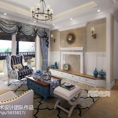 2018109平米三居客厅田园装修实景图片欣赏