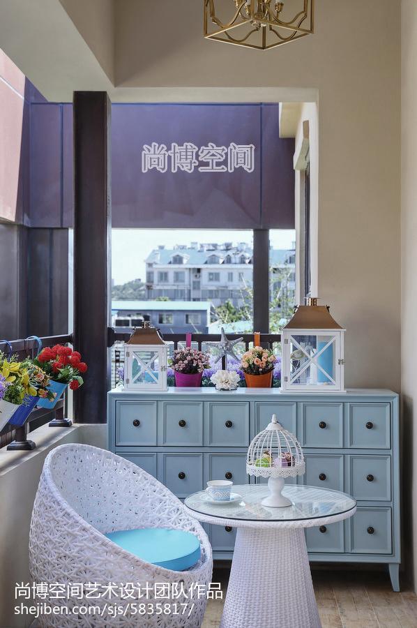 面积100平田园三居阳台实景图卧室美式田园卧室设计图片赏析