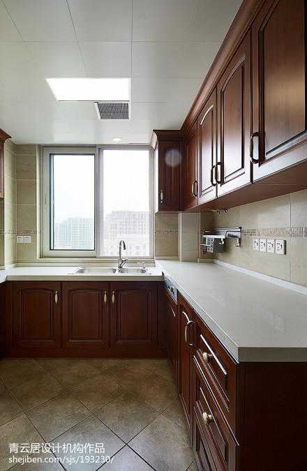 2018精选面积100平美式三居厨房装修效果图片餐厅