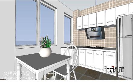 轻奢29平地中海小户型厨房实景图片餐厅