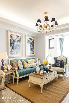 2018精选面积104平美式三居客厅装修设计效果图片欣赏