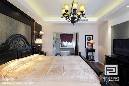 2018117平米美式别墅卧室装修设计效果图片