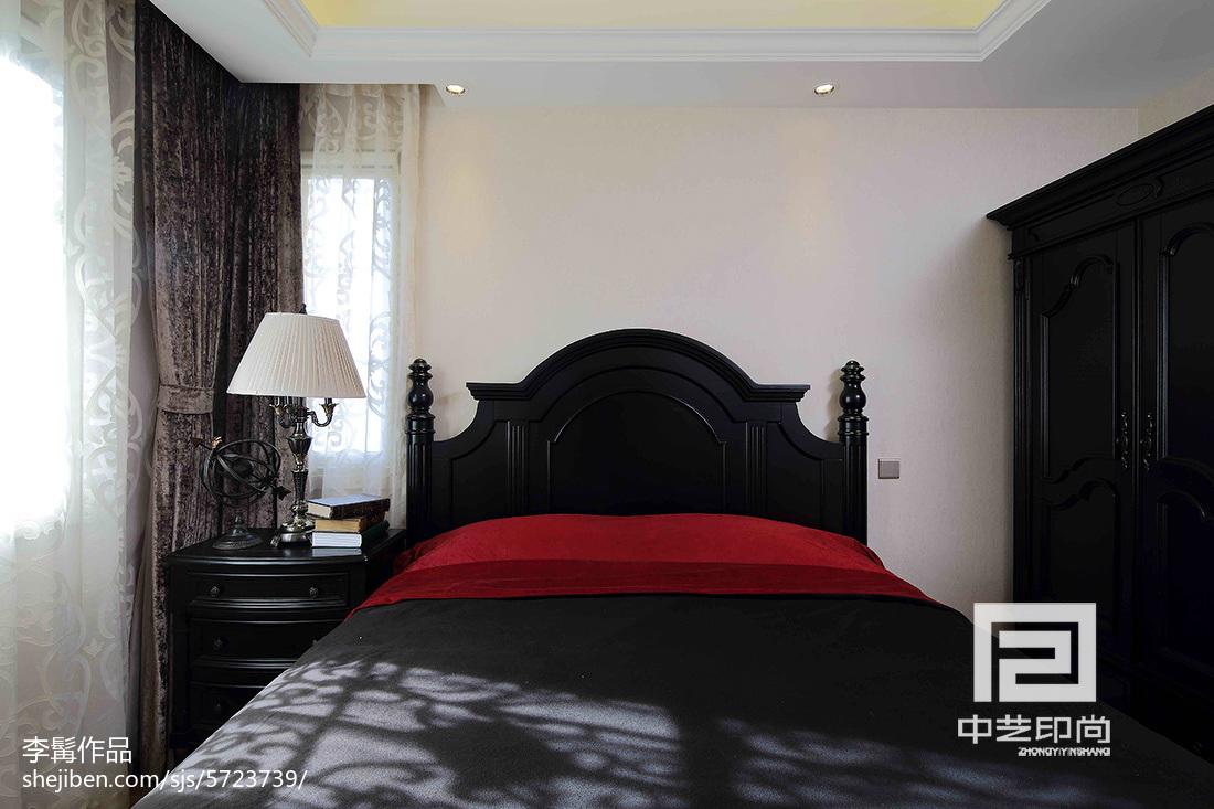 精美139平米美式别墅卧室实景图片卧室床美式经典卧室设计图片赏析