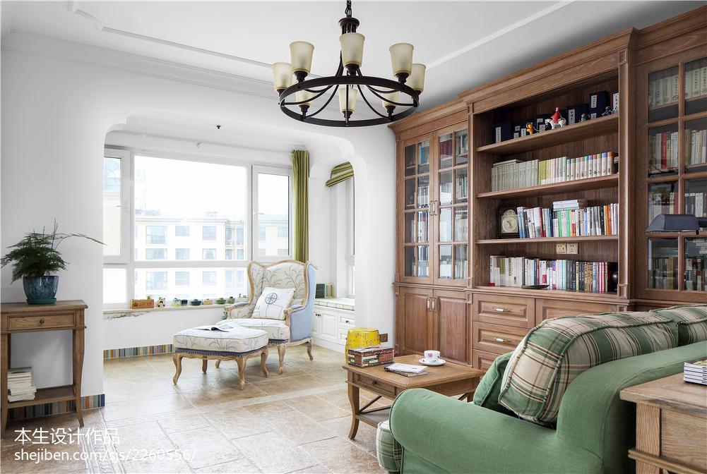 热门复式书房美式效果图片复式美式经典家装装修案例效果图