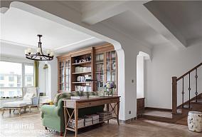 精选面积120平复式客厅美式装饰图片大全复式美式经典家装装修案例效果图
