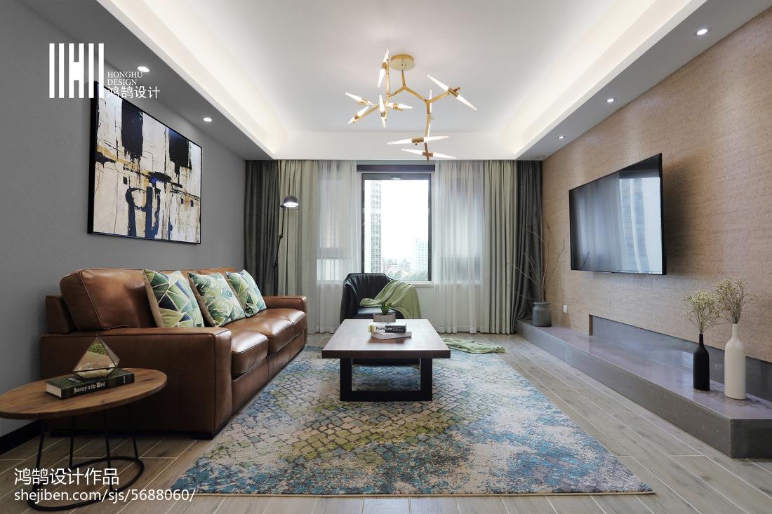 精选面积104平简约三居客厅装修欣赏图三居现代简约家装装修案例效果图