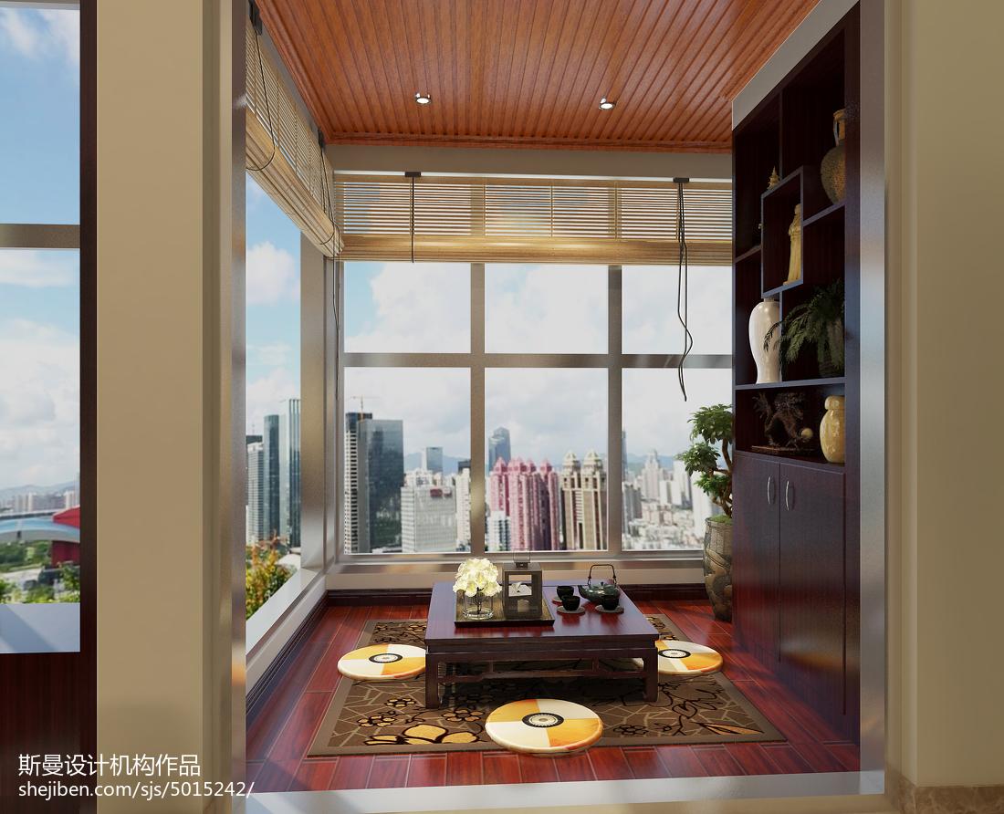 质朴95平新古典四居阳台布置图阳台美式经典阳台设计图片赏析